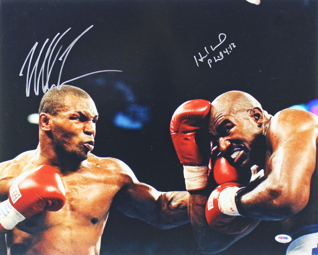 "Mike Tyson and Evander Holyfield Personally Signed ""The Bite Fight"", Framed"