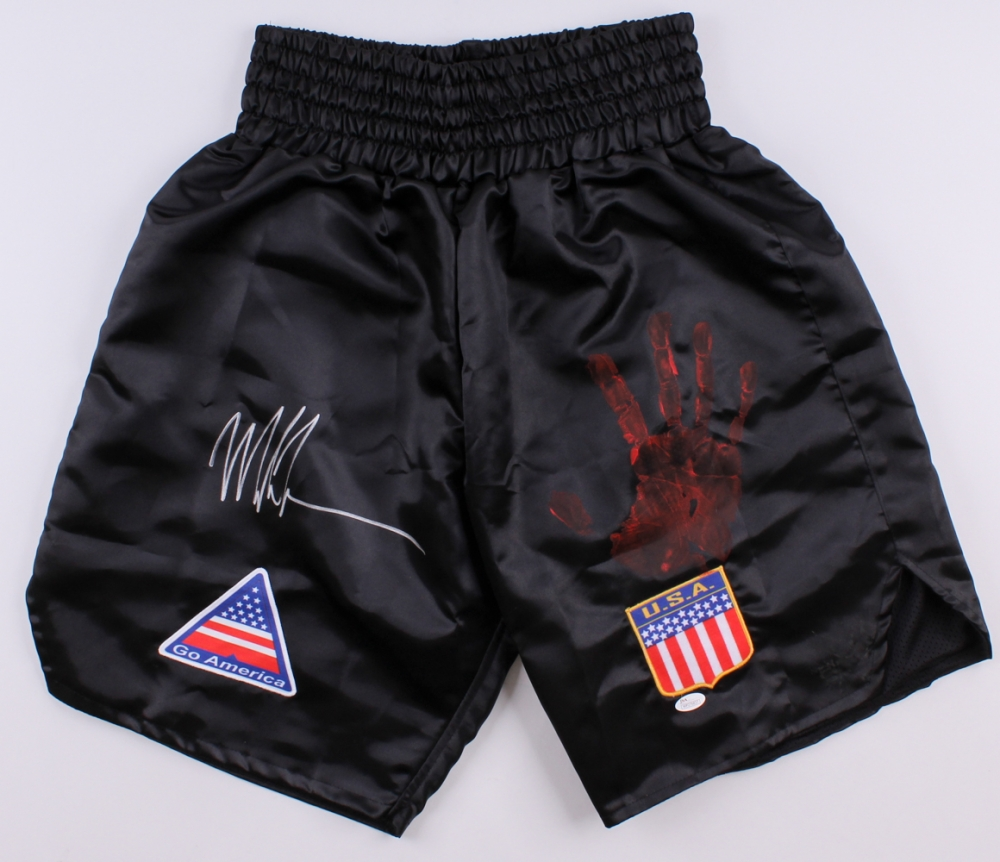Mike Tyson Fight Trunks, Personally Signed With ORIGINAL Hand Print