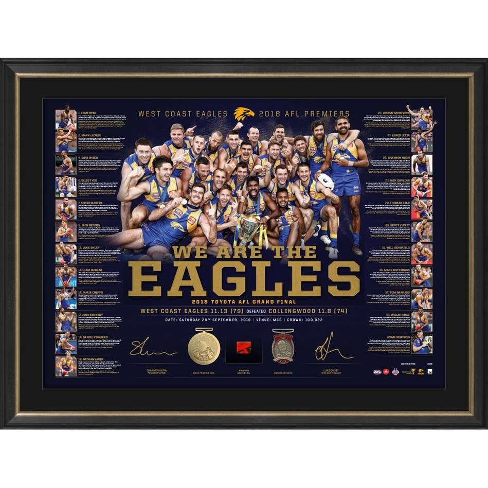 West Coast Eagles 2018 AFL Premiers Dual Signed Lithograph, Framed