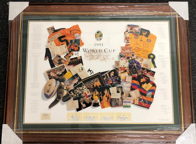 Wallabies 1991 RWC Champions Tribute Collage Personally Signed by Dwyer, Farr-Jones, Lynagh and Campese, Framed