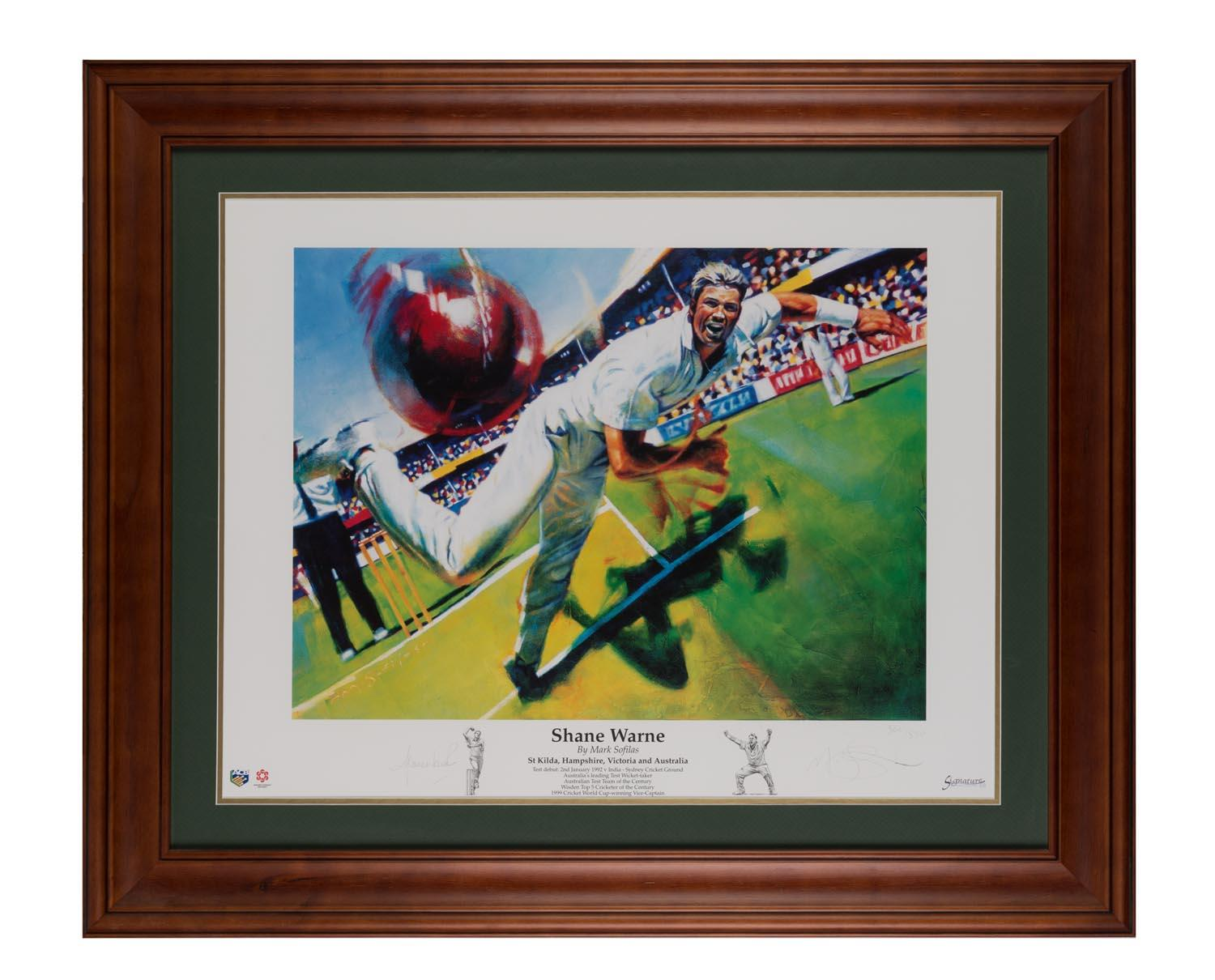 """Shane Warne"" by Mark Sofilas, Hand Signed by Shane Warne and the Artist, Framed"