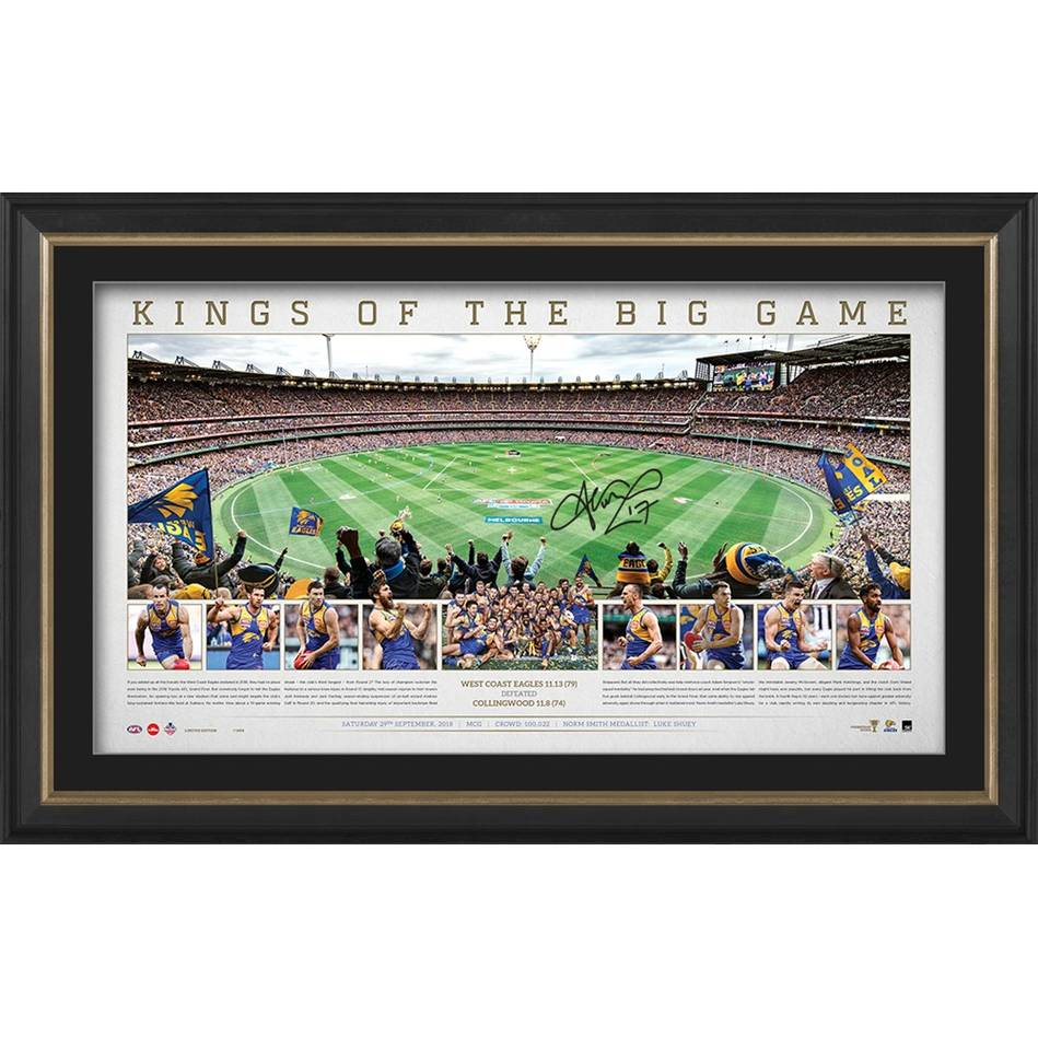 "West Coast Eagles 2018 AFL Premiers ""Kings of the Big Game"" MCG Ground Panoramic, Personally Signed by Josh Kennedy"