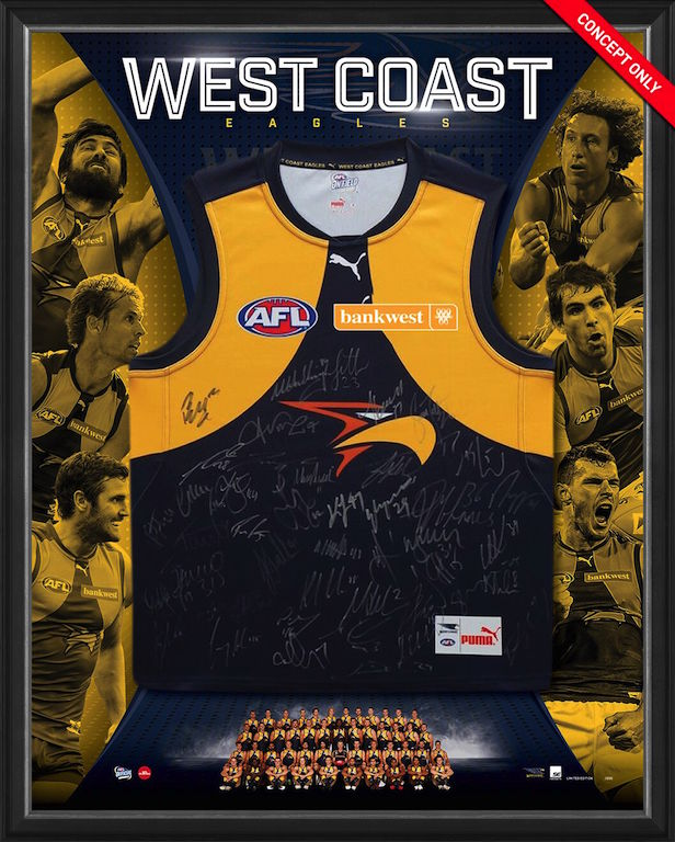 West Coast Eagles 2017 Squad Signed Guernsey, Framed