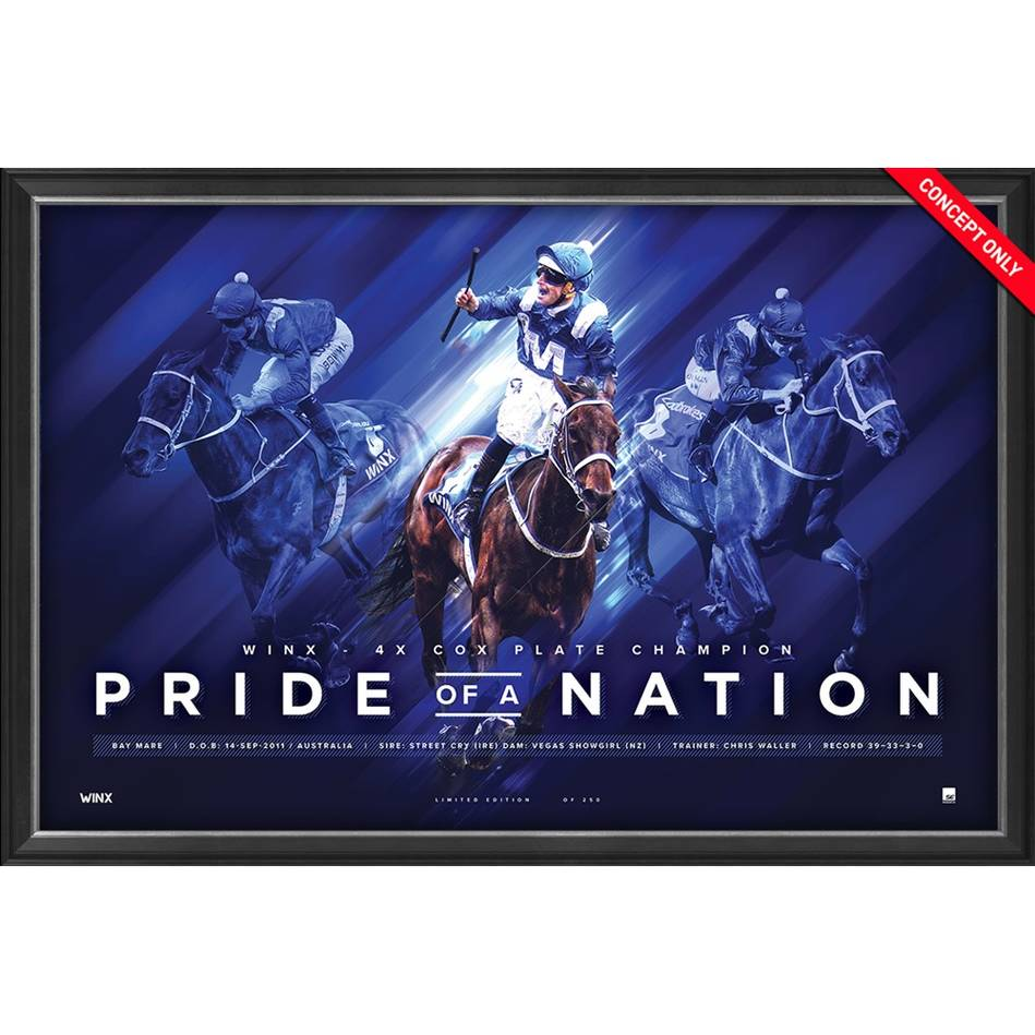 Winx 'Pride Of A Nation' Deluxe Retirement Sportsprint, Framed