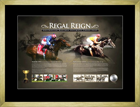 Regal Reign Makybe Diva & Kingston Town limited edition Sportsprint Framed