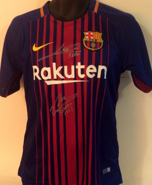 Diego Maradona and Lionel Messi Dual Signed Barcelona Shirt