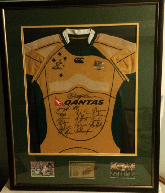 James Horwill Australian Wallabies MATCH-WORN Jersey (v Wales, 2009), Framed