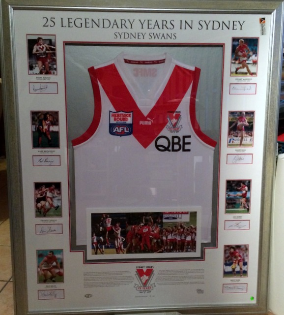 "Sydney Swans ""25 Legendary Years in Sydney"", Signed by 8 Captains, Framed, Ltd Ed of 50"