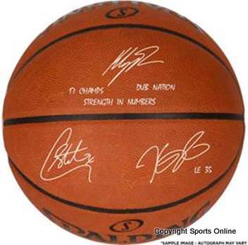 "Stephen Curry, Kevin Durant, Klay Thompson Triple Signed Basketball Inscribed ""17 Champs, Strength in Numbers, Dub Nation"""
