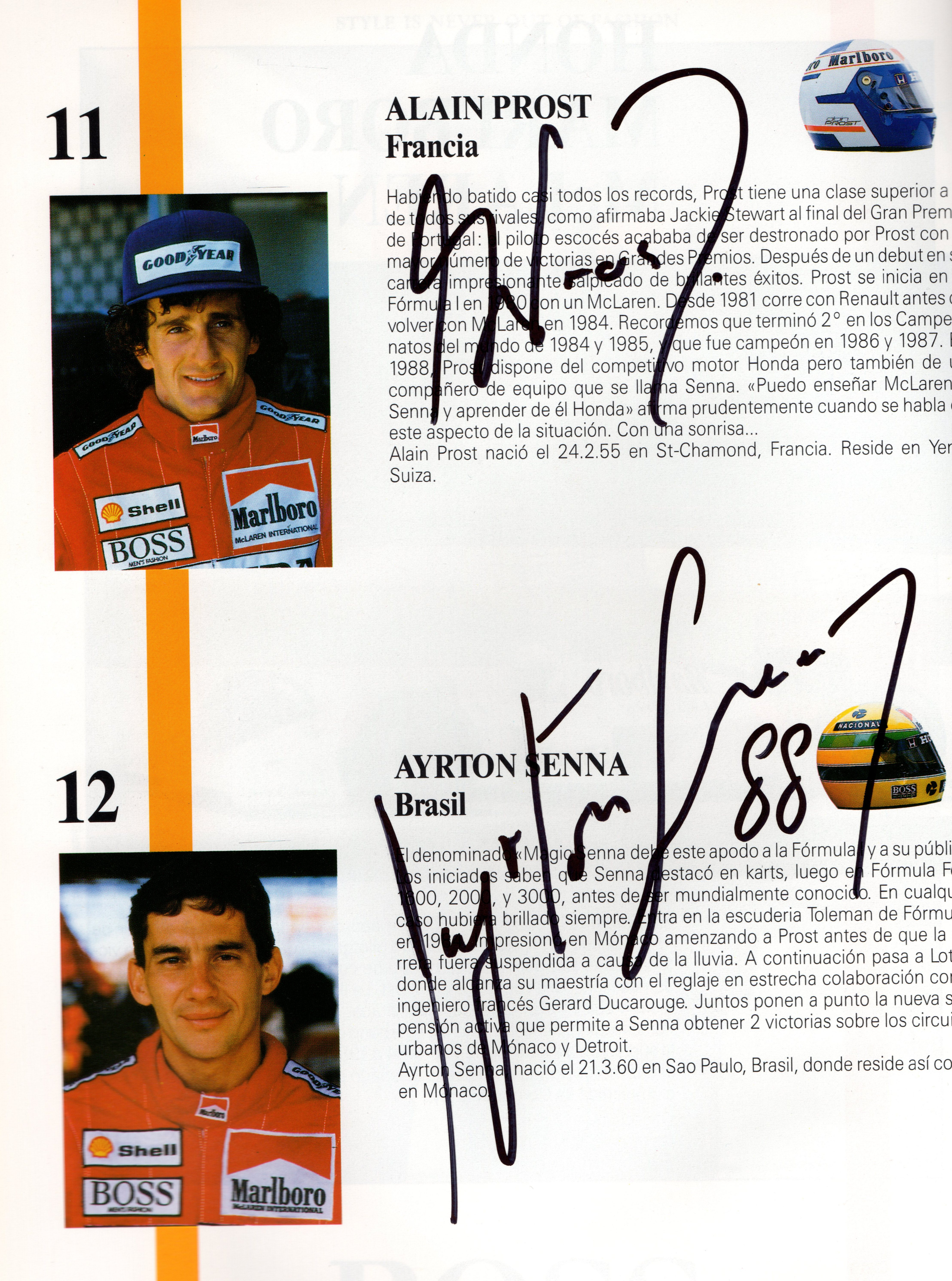 Ayrton Senna and Other Legends Hand Signed 1988 Spanish Grand Prix Program