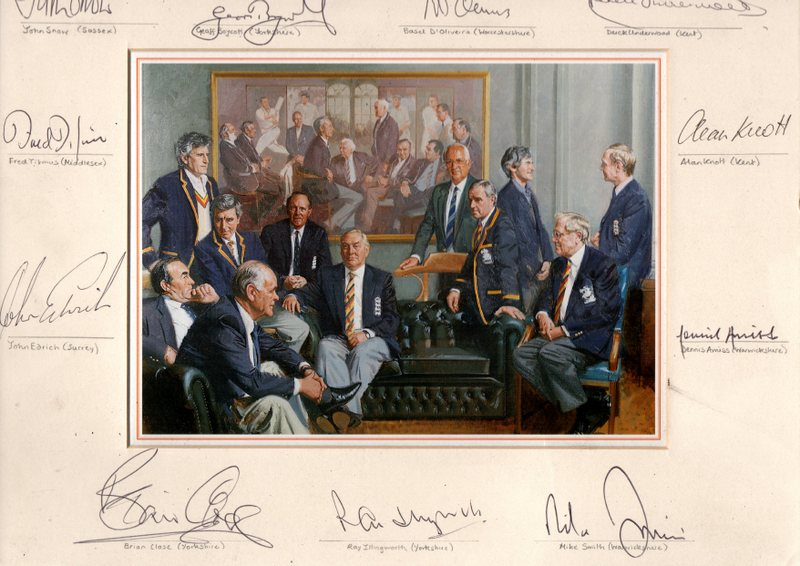 """Conversation Piece"", Personally Signed by 11 Legends of England Cricket"