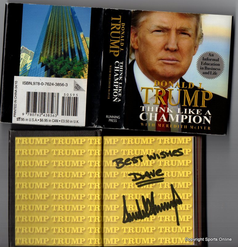 "Donald Trump Personally Signed And Inscribed Book, ""Think Like a Champion"""