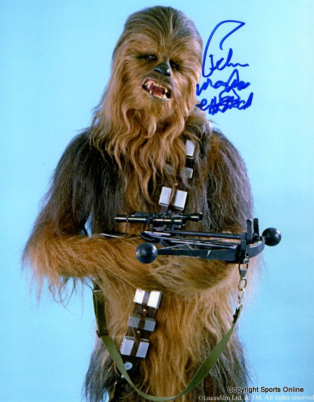 Peter Mayhew Hand Signed Star Wars Chewbacca Photo