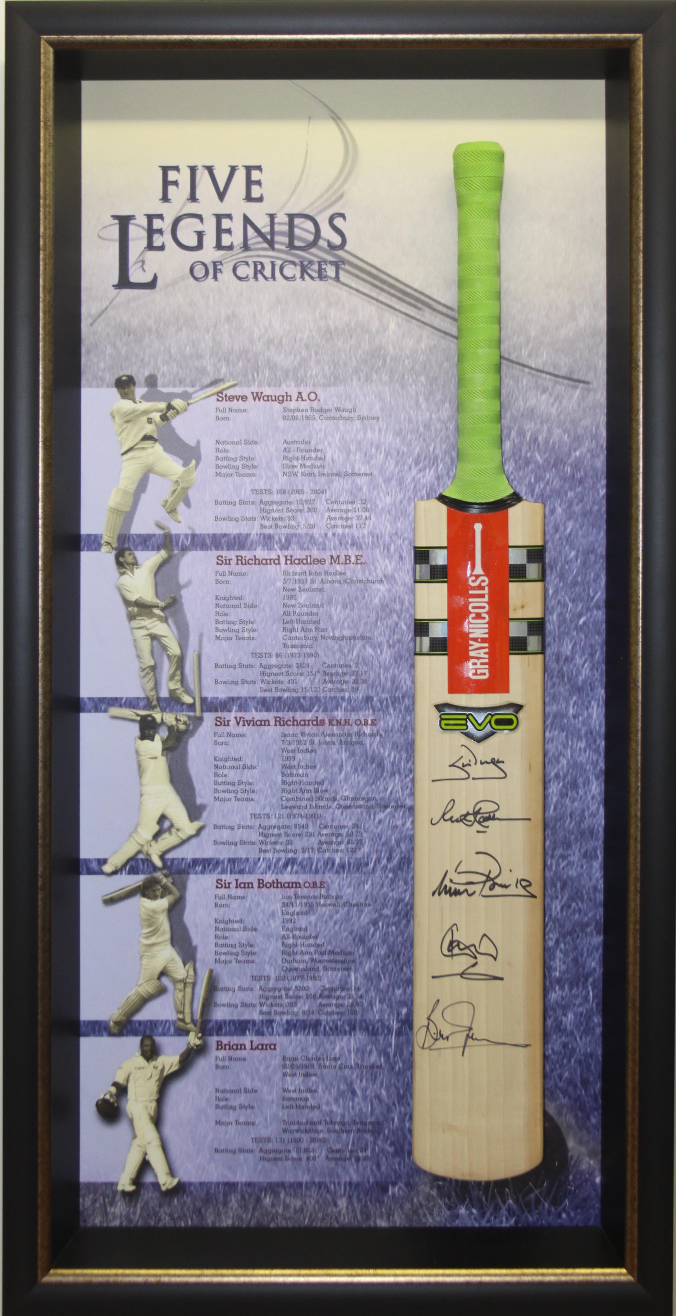 Five Legends of Cricket, Hand Signed Bat, Framed - Waugh, Lara, Richards, Hadlee & Botham - SPECIAL!