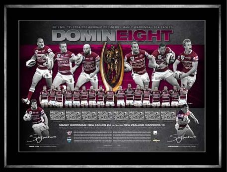 "Manly ""DominEight"" 2011 Premiers Lithograph Personally Signed by Co-Captains Lyon and King"