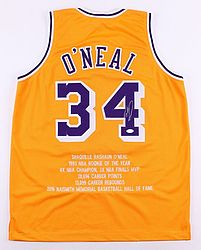 Shaquille O'Neal Signed Lakers Career Highlight Stat Throwback Jersey (JSA COA)