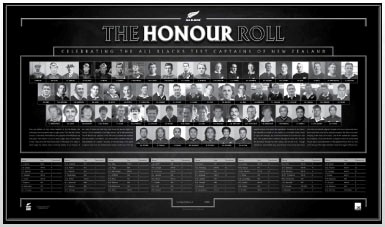 All Blacks Official Captains Honour Roll Unsigned, Framed