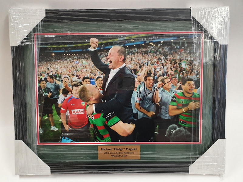 "South Sydney Rabbitohs 2014 NRL Premiers ""Celebration"" Personally Signed by Michael Maguire, Framed"