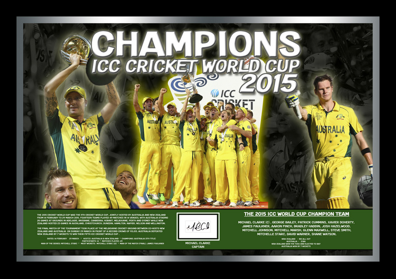 "ICC World Cup Champions - Australia - Personally Signed ""Celebration"" Piece, Framed"